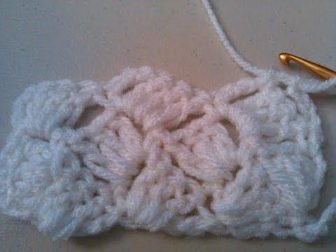 Crochet crazy shell stitch, Slanted shell   /  Puntada Conchas locas en crochet