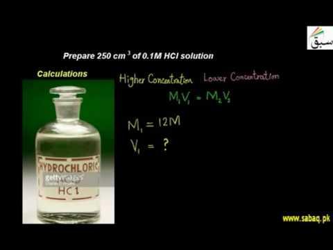 Prepare 250 cm3 of 0.1M HCl solution
