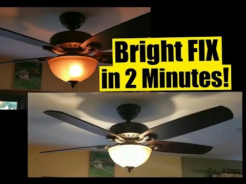 2 Min FIX for Dim Ceiling Fan Lights - Safe - No Wiring - Wattage Limiter Stays!