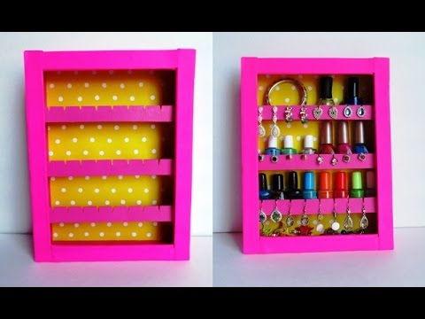 DIY Jewelry Holder | Earrings Holder & Nail Polish Rack - Recycling Cardboard Boxes