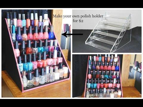 Easy DIY Nail Polish Table Display Rack For Super Cheap