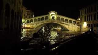 Venice canals by gondola in silence of the night