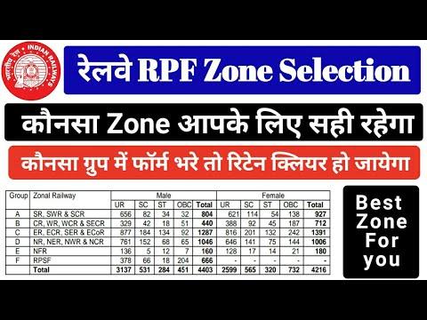 Best Zone to apply Railway RPF. Safe Zone to Qualify Written Exam. RPF Zone with low cut off marks