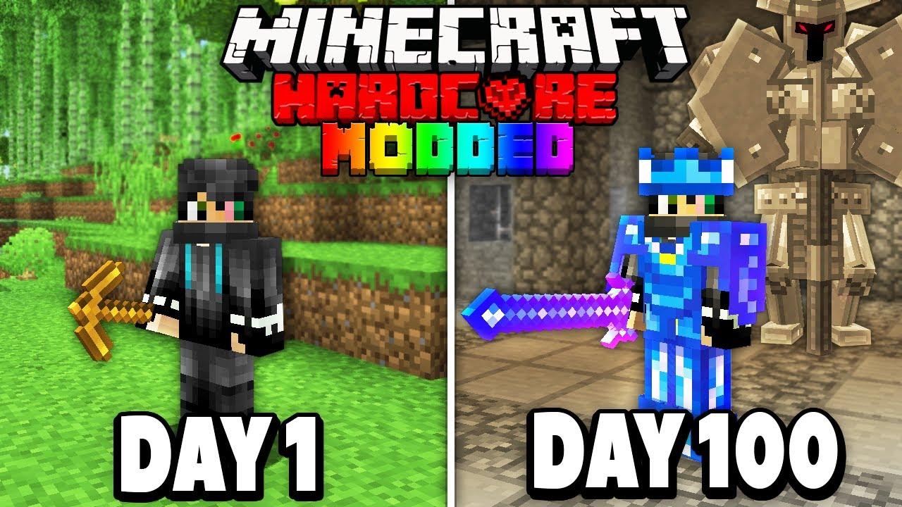 I Survived 100 Days in Modded Hardcore Minecraft.. Here's What Happened
