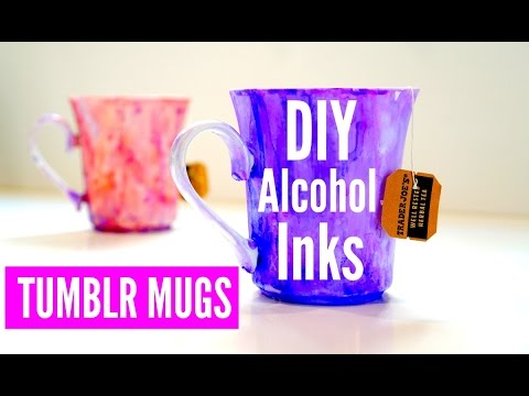 DIY Alcohol Ink & Tumblr Inspired Mugs
