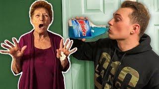 Drinking Windex Prank On Grandmom