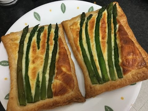 Asparagus & Mascarpone Cheese Puff pastry Slices