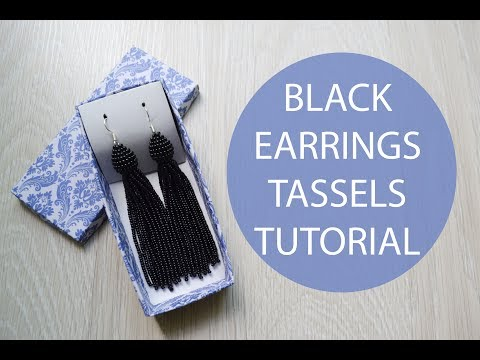 Tutorial Black Earrings Tassels Beaded DIY