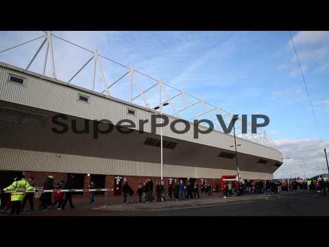 Fans arrive at Sunderland FC's Stadium of Light for their...