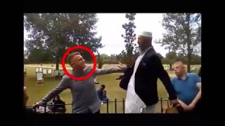Tommy Robinson Fan Squaring Up To Old Asian Man