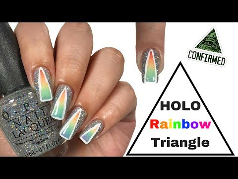 🔺 Holographic Rainbow Prism Nail Tutorial!! 🔻