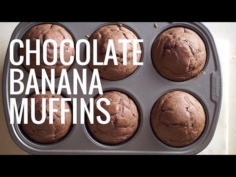 CHOCOLATE BANANA MUFFINS// VEGAN & EASY
