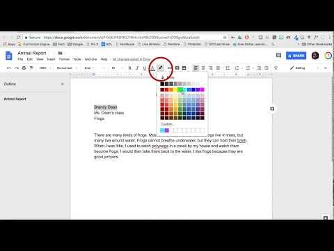 Google Docs - Fonts (style, size, color)