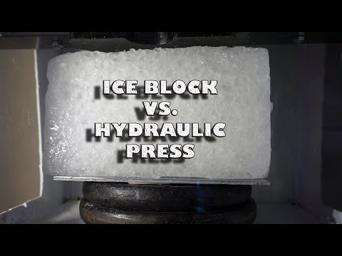 Large Ice block vs Hydraulic Press| Crushed Ice Hydraulic Press Style!