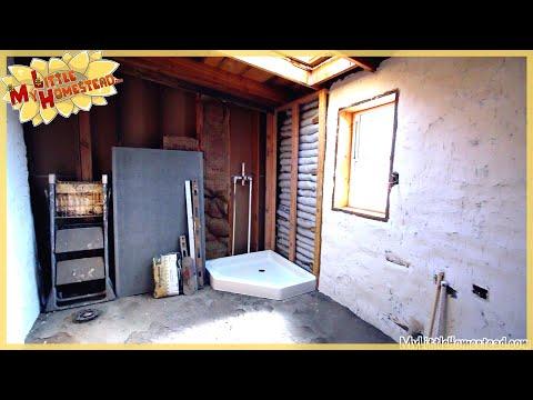 Shower Pan, Sheetrock Mud & Window Boxes | Kitchen & Bathroom Earthbag Addition Ep6 | Weekly Peek
