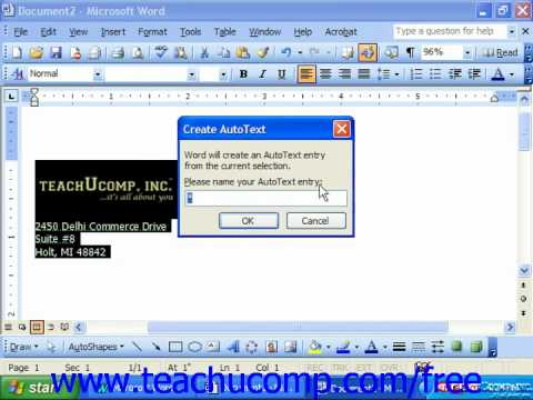 Word 2003 Tutorial Creating an AutoText Entry Microsoft Office Training Lesson 12.3