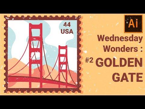 Golden Gate Flat Minimal Design | Illustrator Tutorial | Wednesday Wonders #2: Golden Gate Bridge