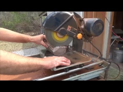 slabbing flint with a tile saw