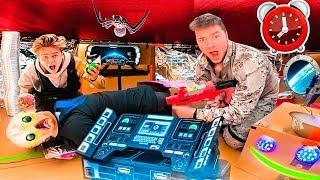 24 HOUR OVERNIGHT CHALLENGE IN ALIEN UFO BOX FORT
