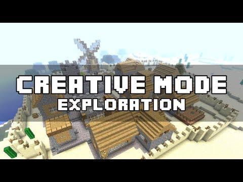 Minecraft Xbox 360 : 1.8.2 Creative Mode Exploration! NPC Village TNT Explosion, Endermen