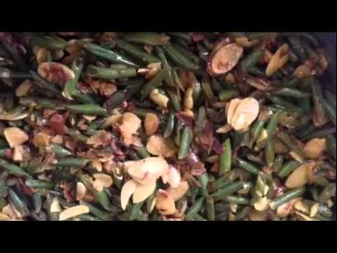 Green Beans with Roasted Garlic and sliced Almonds