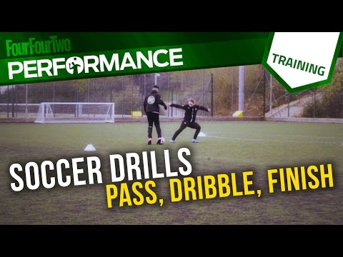 Soccer shooting drill   Learn how to pass, dribble and finish