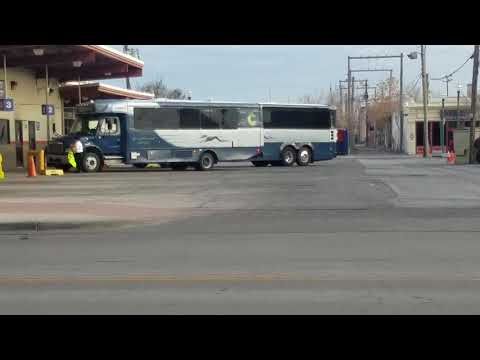 Greyhound bus MCI D4505 #86301 leaving to Los Angeles