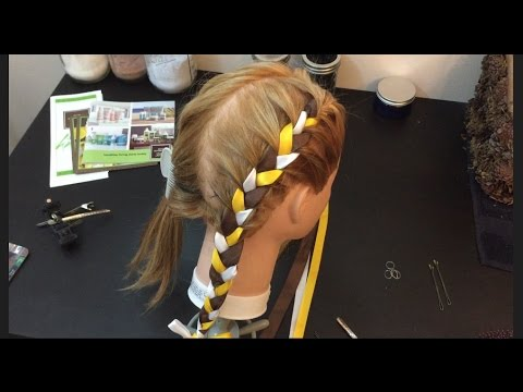 Two french braids with ribbon, How to, cute girl hair style,  (Video 3)