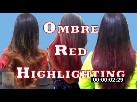 Highlights Hair-HighlightsHair with Ombre Reb Colour-Fashion Hair Colour on black Hair-Step by Step