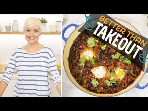 Spicy Black Bean Soup with Poached Eggs (with The Domestic Geek)   Food Network
