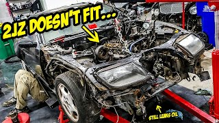 Installing A Cheap 2JZ-GTE And It DOESN'T FIT (And Leaks A TON Of Oil)
