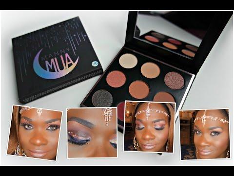 Manny MUA X, Makeup Geek Eyeshadow Palette Tutorial on darkskin