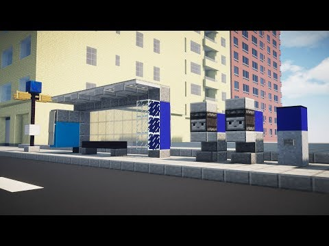 Minecraft Bus Stop Shelter NYC Style Tutorial