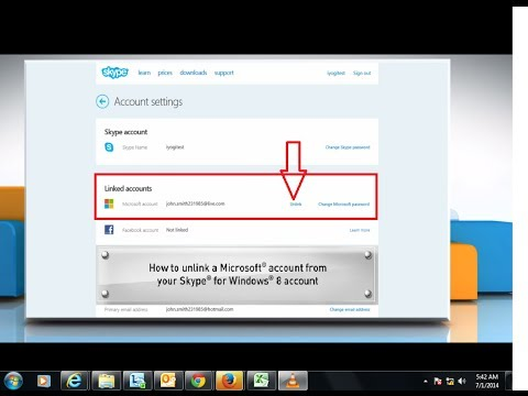 Unlinking Microsoft® Account from Skype® Account