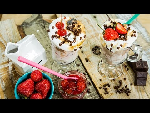 Recipe – Banana Split Ice Cream Cake Sundae – Hallmark Channel