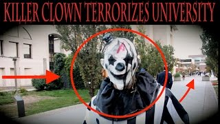 (SCARY!!) KILLER CLOWN BRUTALLY ATTACKS COLLEGE STUDENT CAMPUS