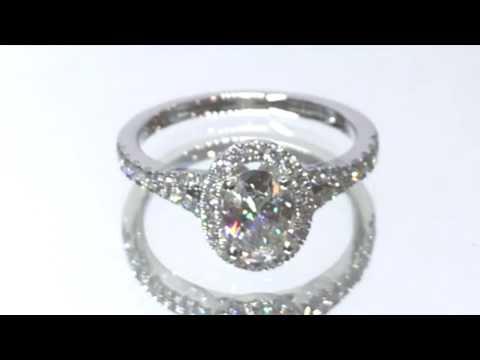 Gear Jewellers Dublin Platinum Oval Halo Diamond Engagement Ring 0180100