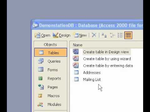 Microsoft Office Access 2003 Create a table by using the Table Wizard