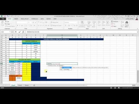 Choose Formula in Excel and Rank formula Excel 2007 2010 2013 2016