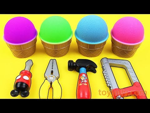 Mad Matter Kinetic Sand VS Kinetic Sand Ice Cream Surprise Egg Kinder Joy Baby Toys Fun for Kids