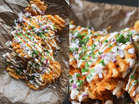 How To Make Cheesy Waffle Fries - By One Kichen Episode 721
