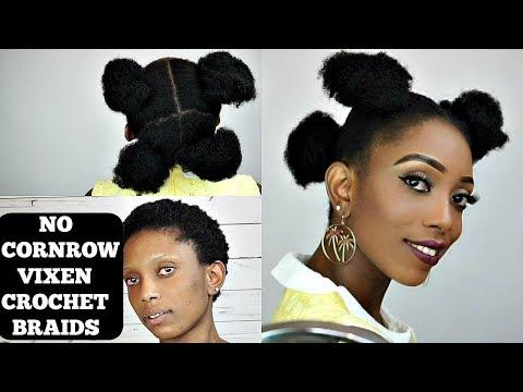 NO CORNROW EASY VIXEN CROCHET BRAIDS TUTORIAL ON SHORT NATURAL HAIR