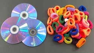 Waste cd disc & Hair rubber bands Crafting for Home decor | best out of waste