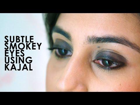 Subtle Smokey Eyes Using Kajal