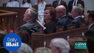 George H.W. Bush breaks down crying during eulogy for wife - Daily Mail