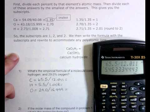 Percent Composition and Molecular Formula Worksheet