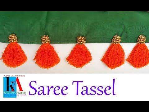 saree kuchu making // saree tassels making using gold balls // DIY latest kuchu designs