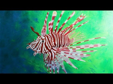 Art Lesson: How to Paint a Lion Fish with H20 Water Mixable Oil Paint