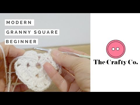 Modern Crochet Granny Square - Easy, beginners crochet - The Crafty Co