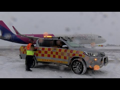 Snow Clearing At London Luton Airport